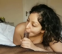 Sister cures brothers morning wood off out of one's mind giving sensual deepthroat Oral pleasure surrounding ball sucking cum swallow while this guy sleeps POV Indian