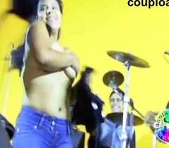 Heavy girl striptease of audience