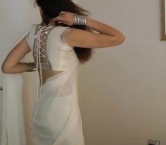 Indian Establishing Girl Jasmine Mathur In White Indian Sari