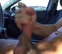 Office hottie witnesses me flash dick together with wank in car